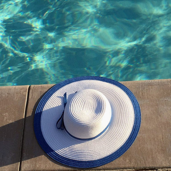 White Blue Floppy Sun Hat