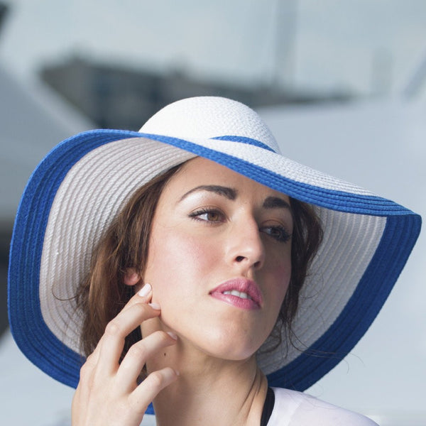 White Blue Large Floppy Hat