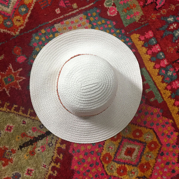 White Sun Hat with Orange and Gold Ribbon