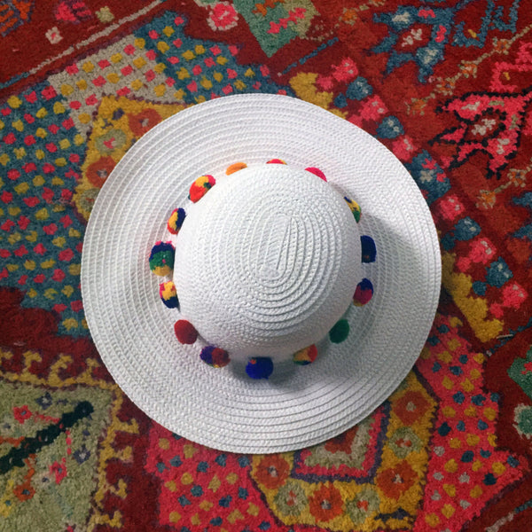 White Sun Hat with Colorful Pom Poms