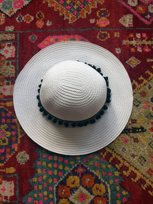 black and white boho hat