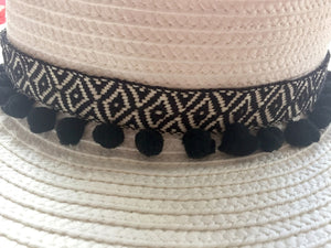 black aztec pom pom ribbon