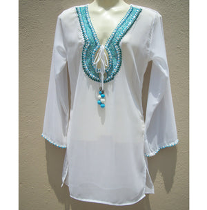 White Blue Tunic Beach Glam