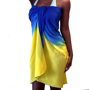Yellow Blue Silk Swimsuit Coverups