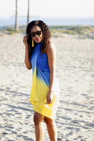 Yellow Blue Silk Beachwear Beach Glam