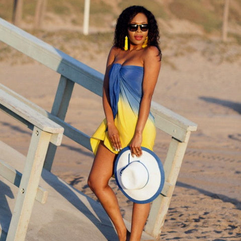 Yellow Blue Ombre Sarong Beach Glam