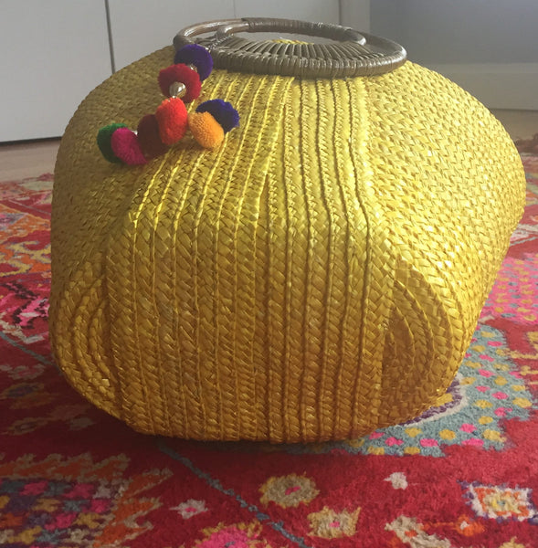 Yellow Straw Beach Bag