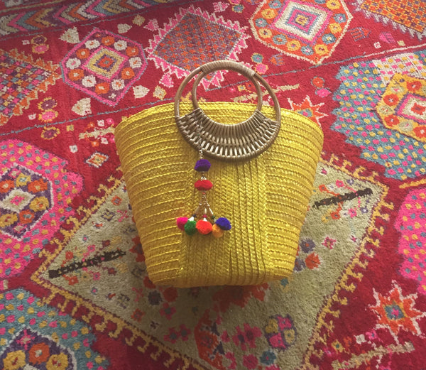 Yellow Pom Pom Straw Tote