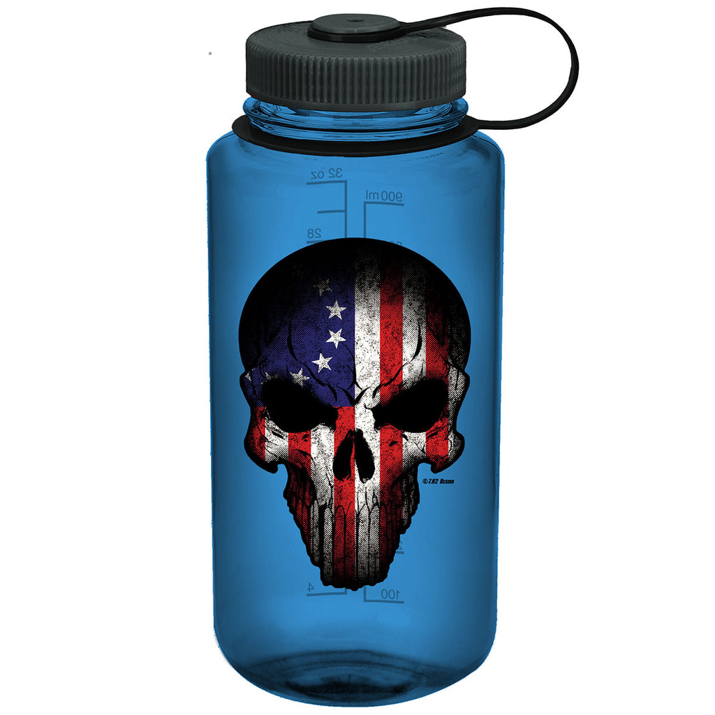 Betsy Ross Flag Skull 7.62 Design 32oz Nalgene 501 Bottle Blue- 7.62 Design