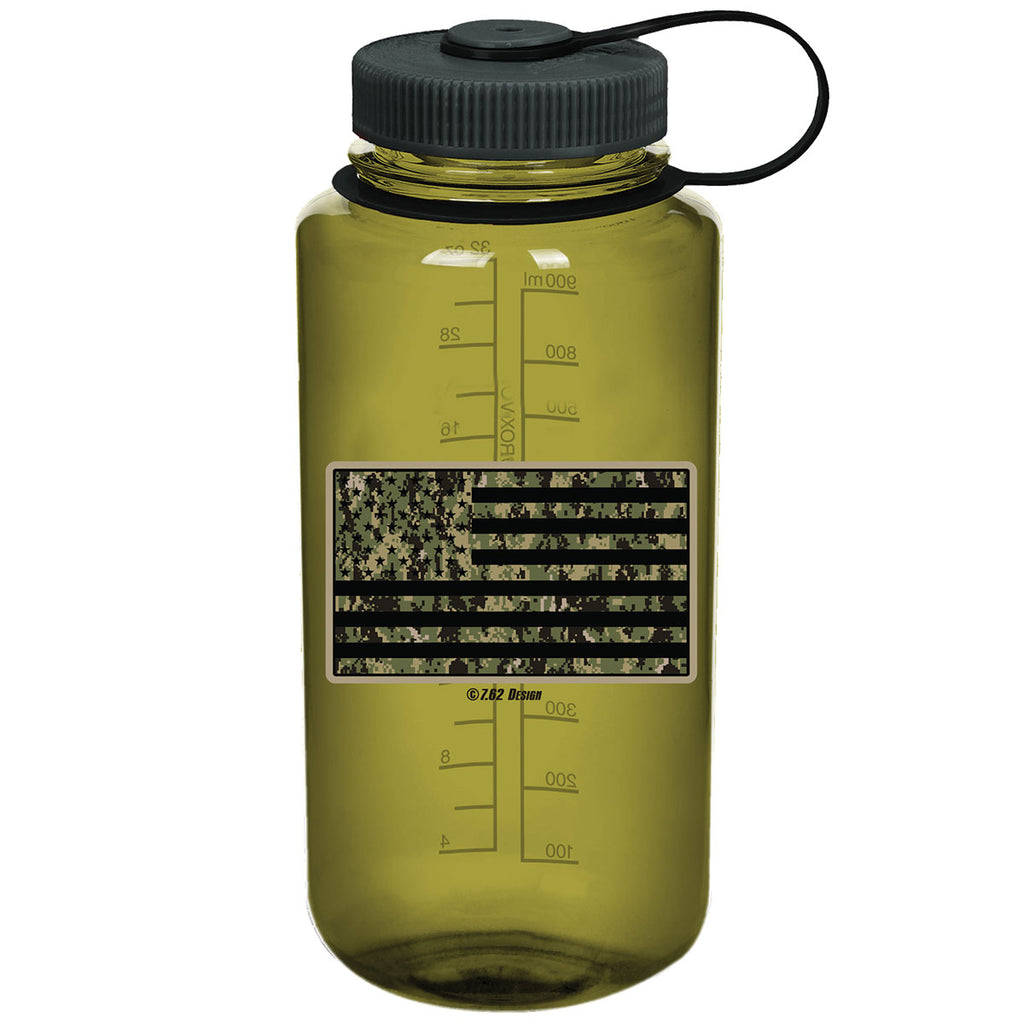 US Navy Type-3 Camo Flag 7.62 Design 32oz Nalgene 501 Bottle Olive- 7.62 Design