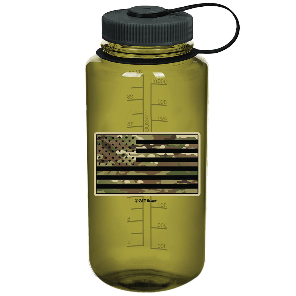 Camouflage Flag 7.62 Design 32oz Nalgene 501 Bottle Olive- 7.62 Design