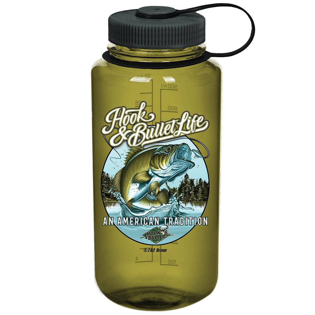Hook & Bullet Life 7.62 Design 32oz Nalgene 501 Bottle Olive- 7.62 Design