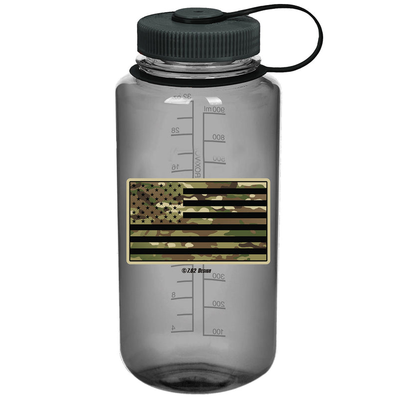 Camouflage Flag 7.62 Design 32oz Nalgene 501 Bottle Smoke- 7.62 Design