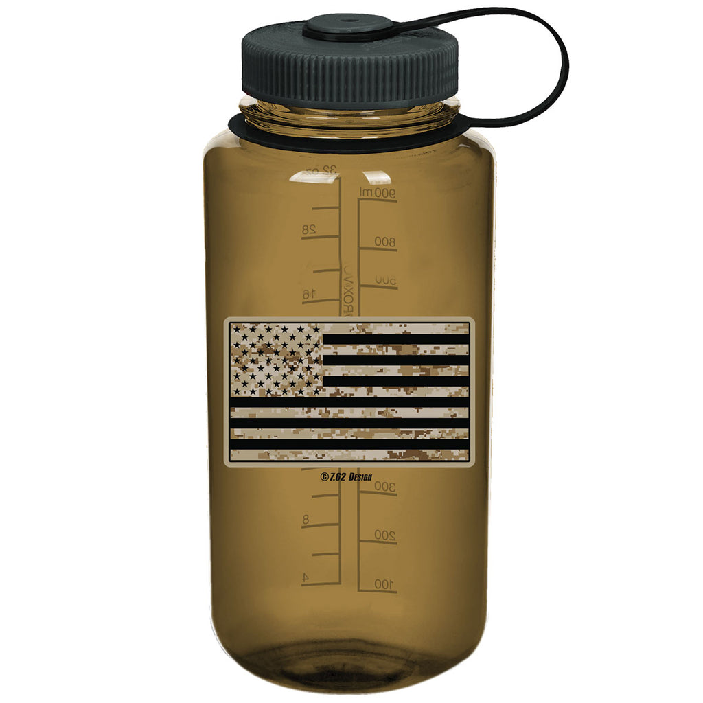USMC Desert MARPAT Flag 7.62 Design 32oz Nalgene 501 Bottle Woodsman- 7.62 Design