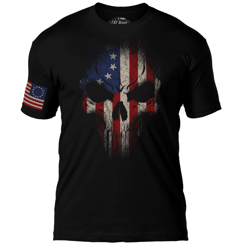 Betsy Ross Flag Skull 7.62 Design Premium Men's T-Shirt- 7.62 Design