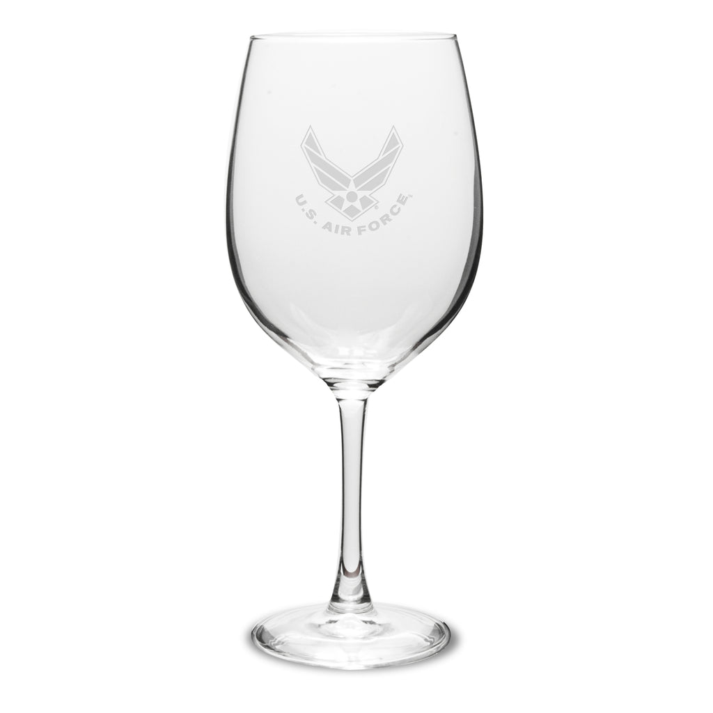 USAF Deep Etched 19oz Red Wine Glasses, Set of 2- 7.62 Design