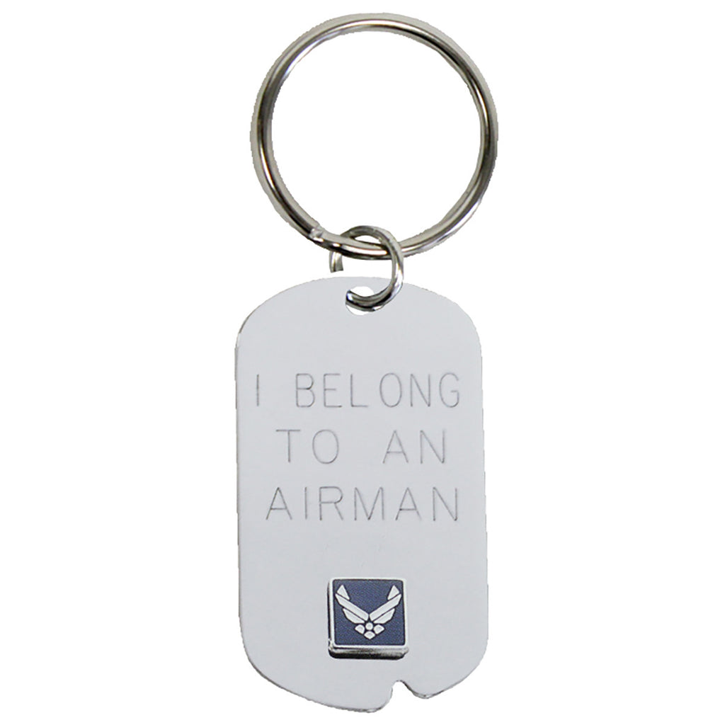 US Air Force 'I Belong' Crest Craft Dog Tag Keychain- 7.62 Design