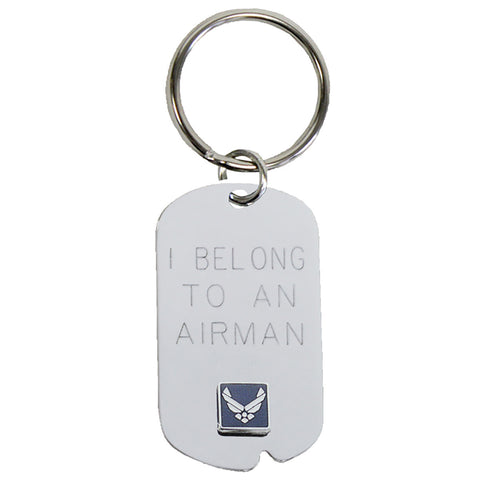 US Air Force 'I Belong' Crest Craft Dog Tag Keychain