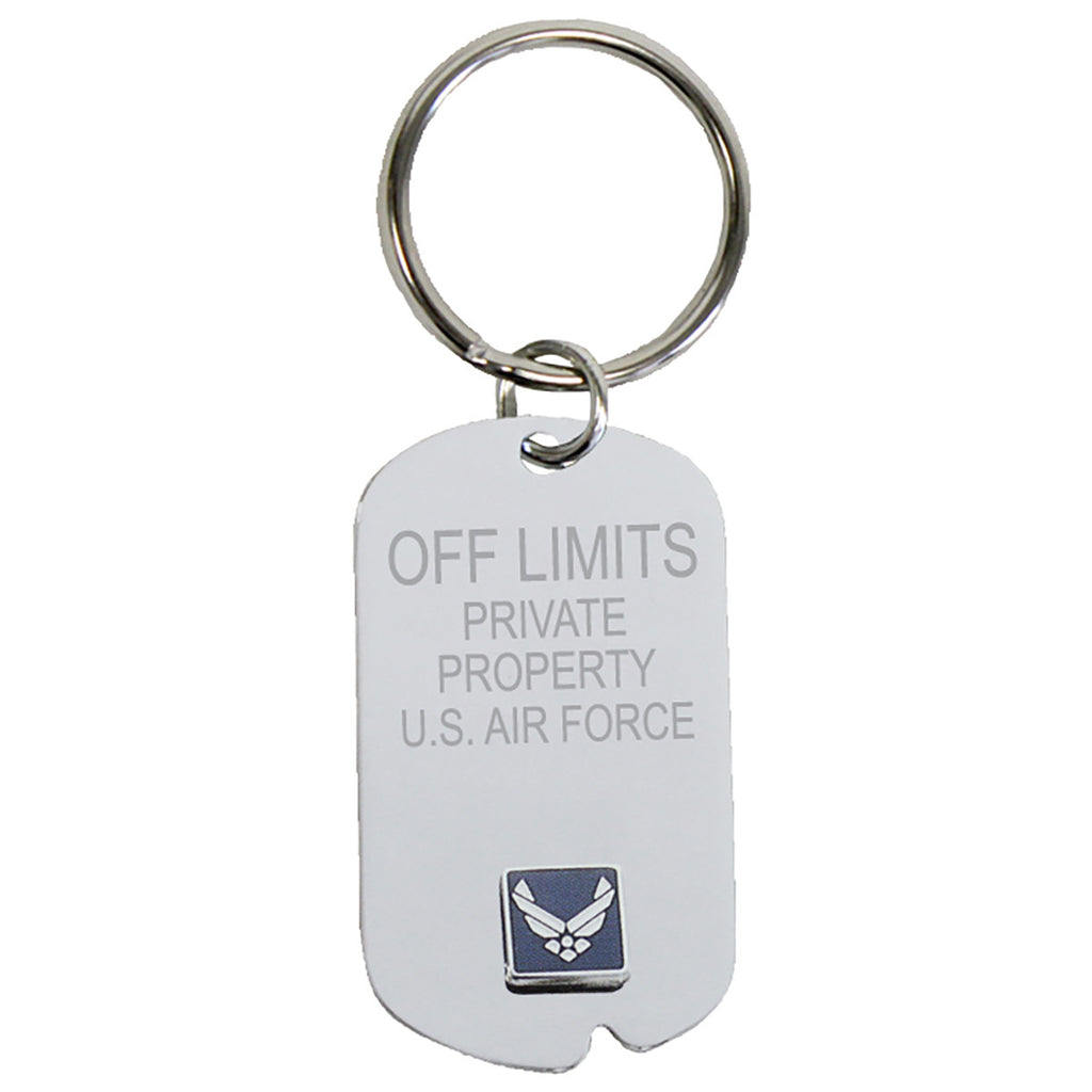 US Air Force 'Off Limits' Crest Craft Dog Tag Keychain- 7.62 Design