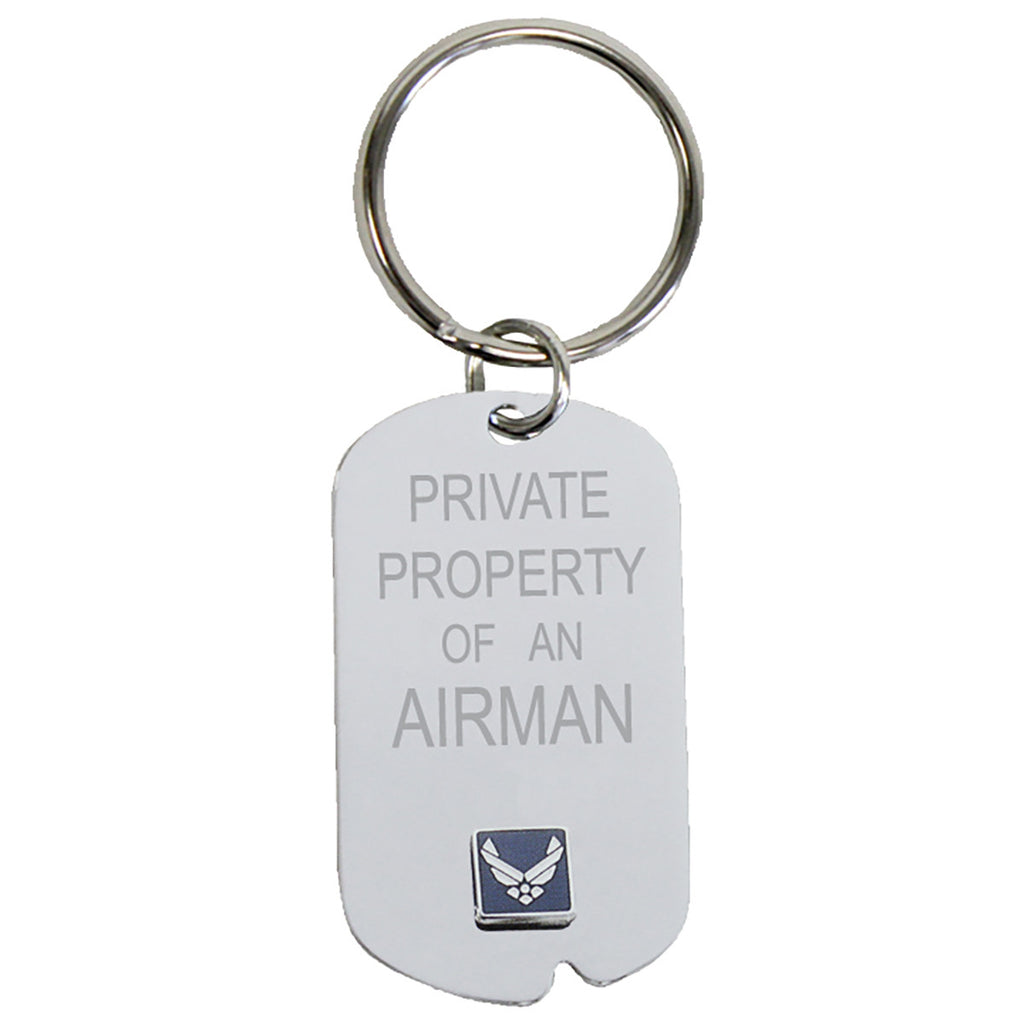 US Air Force 'Property Of' Crest Craft Dog Tag Keychain- 7.62 Design