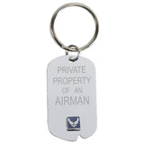 US Air Force 'Property Of' Crest Craft Dog Tag Keychain