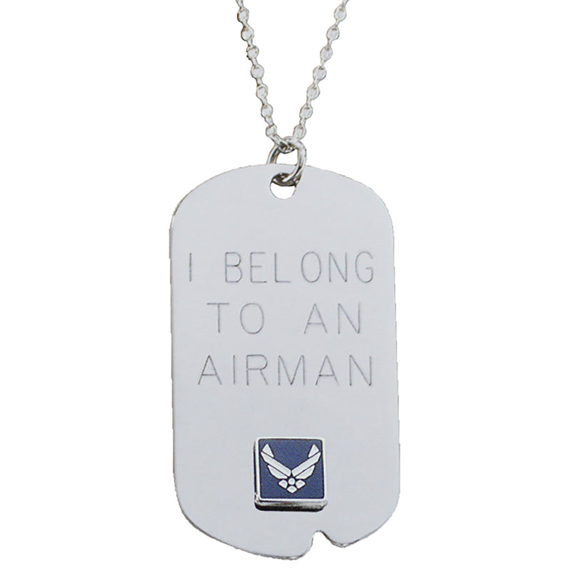 US Air Force 'I Belong' Crest Craft Dog Tag Necklace- 7.62 Design
