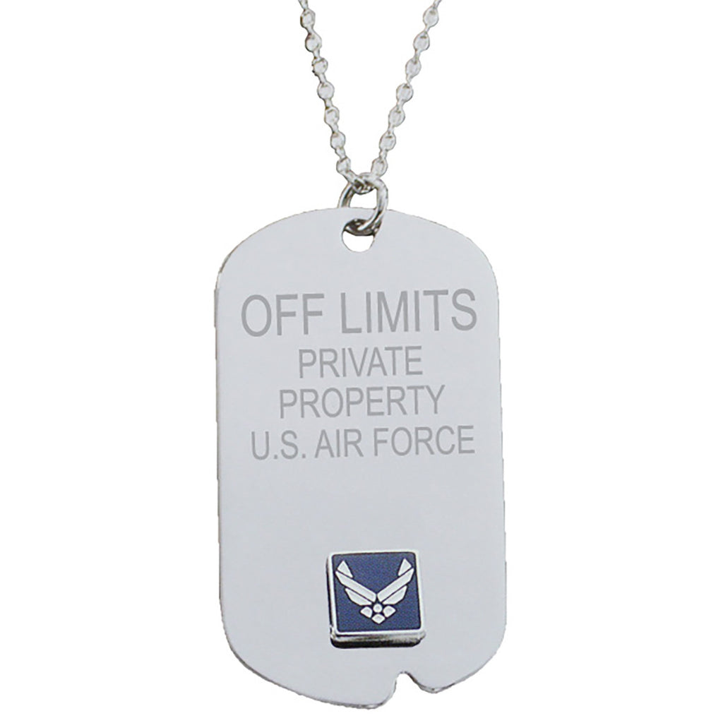 US Air Force 'Off Limits' Crest Craft Dog Tag Necklace- 7.62 Design