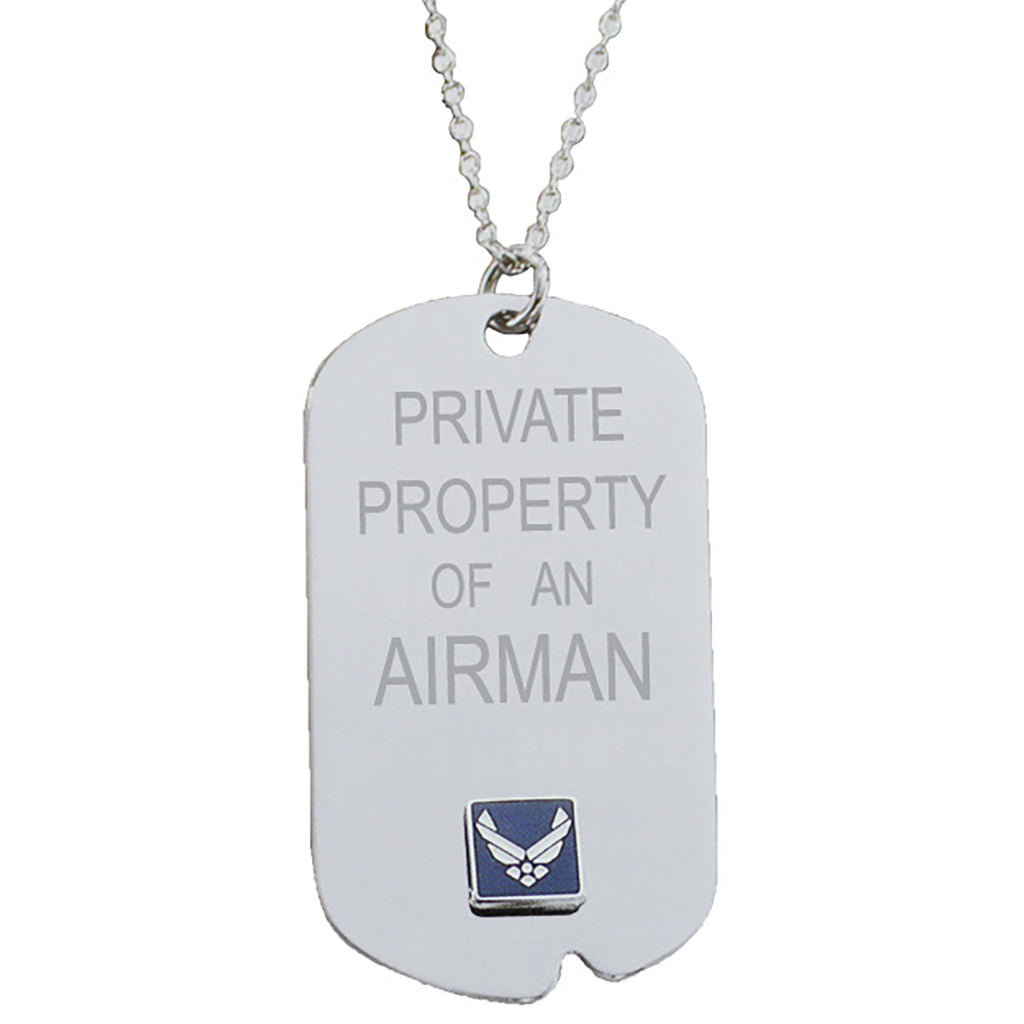 US Air Force 'Property Of' Crest Craft Dog Tag Necklace- 7.62 Design