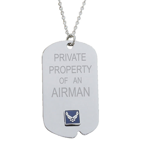 US Air Force 'Property Of' Crest Craft Dog Tag Necklace