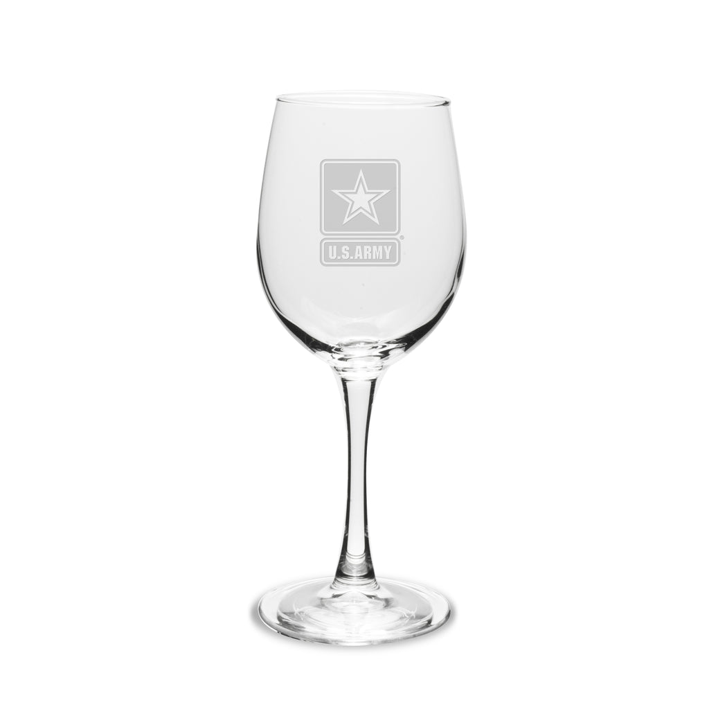 US Army 12 oz Deep Etched White Wine Glasses, Set of 2- 7.62 Design