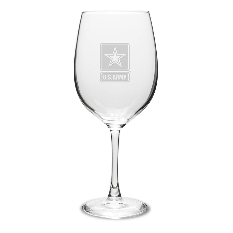 USAF 12 oz Deep Etched White Wine Glasses, Set of 2