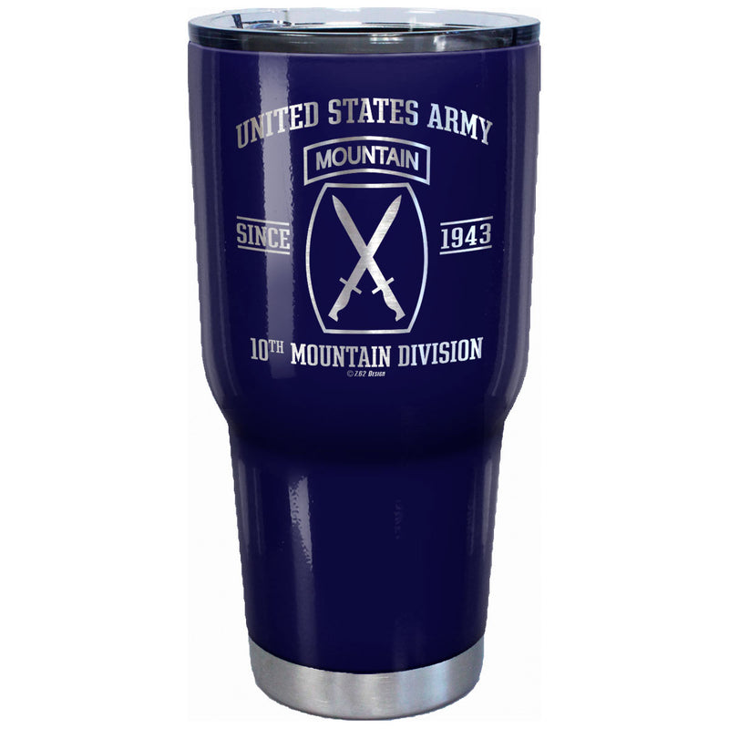7.62 Design US Army 10th Mountain Laser Etched 32oz Travel Mug - Officially Licensed