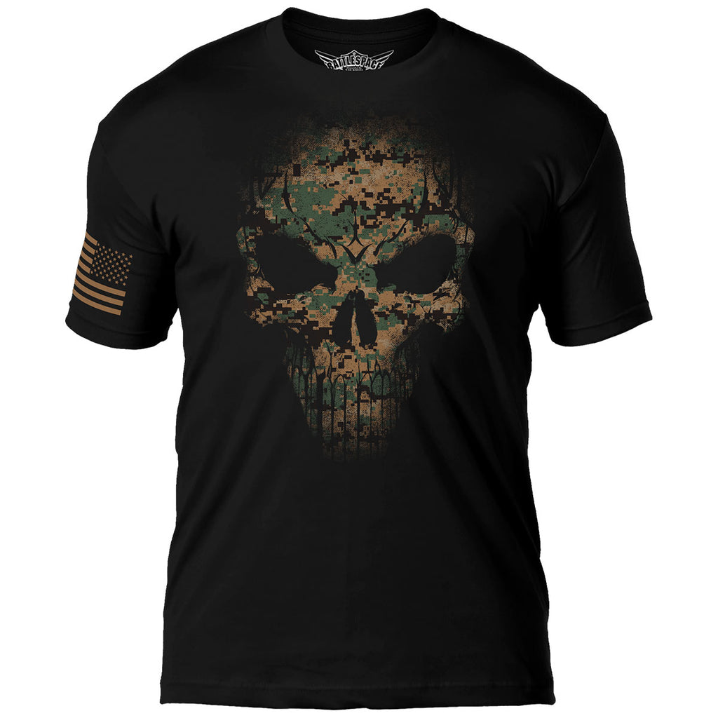 USMC Woodland MARPAT Skull 7.62 Design Battlespace Men's T-Shirt- 7.62 Design