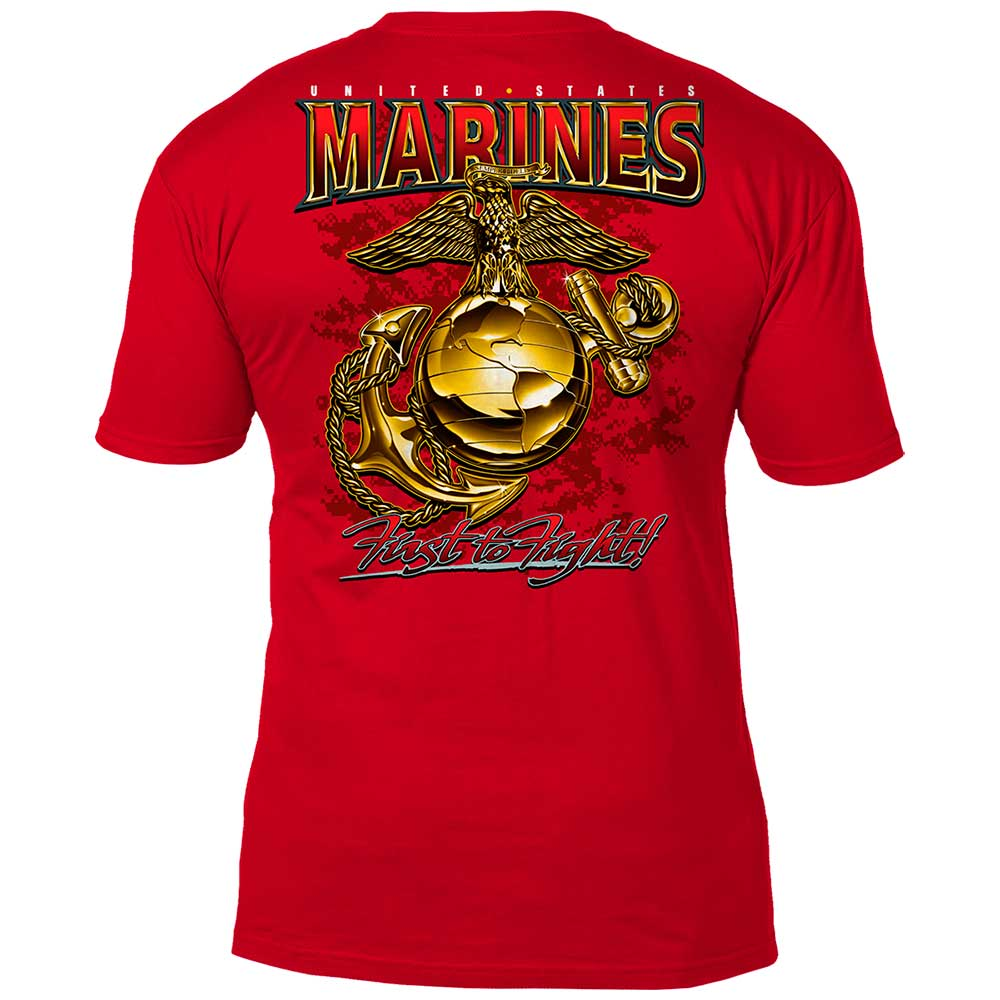USMC 'Eagle, Globe & Anchor' 7.62 Design Battlespace Men's T-Shirt Scarlet- 7.62 Design