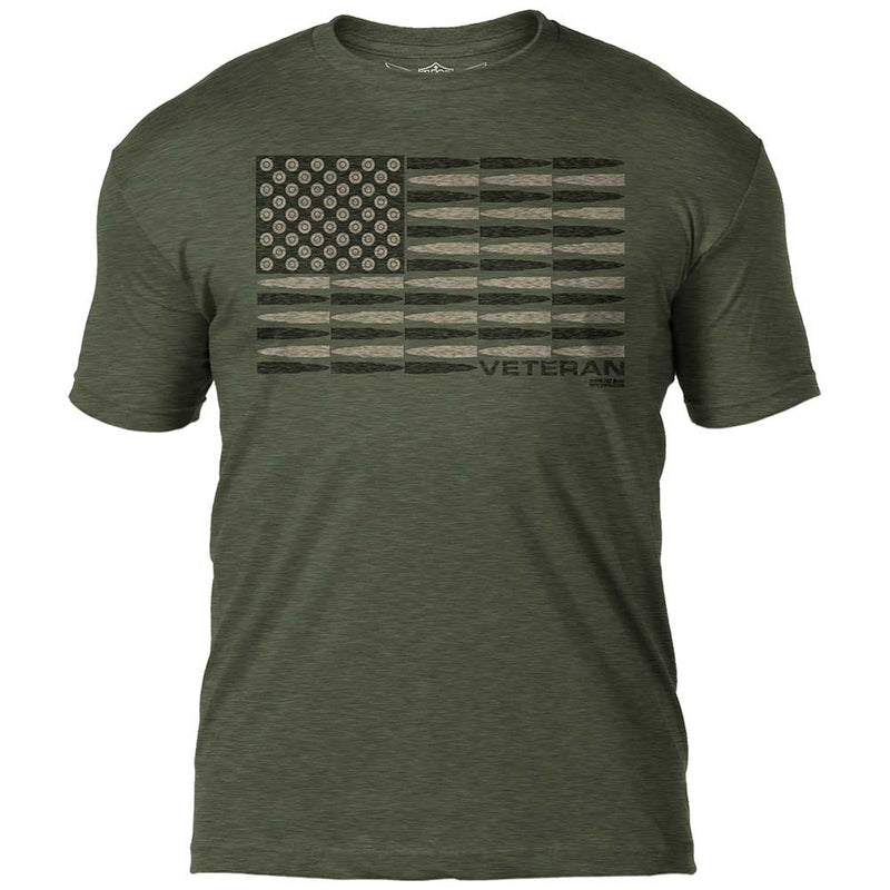Veteran 'Bullet Flag' 7.62 Design Battlespace Men's T-Shirt- 7.62 Design
