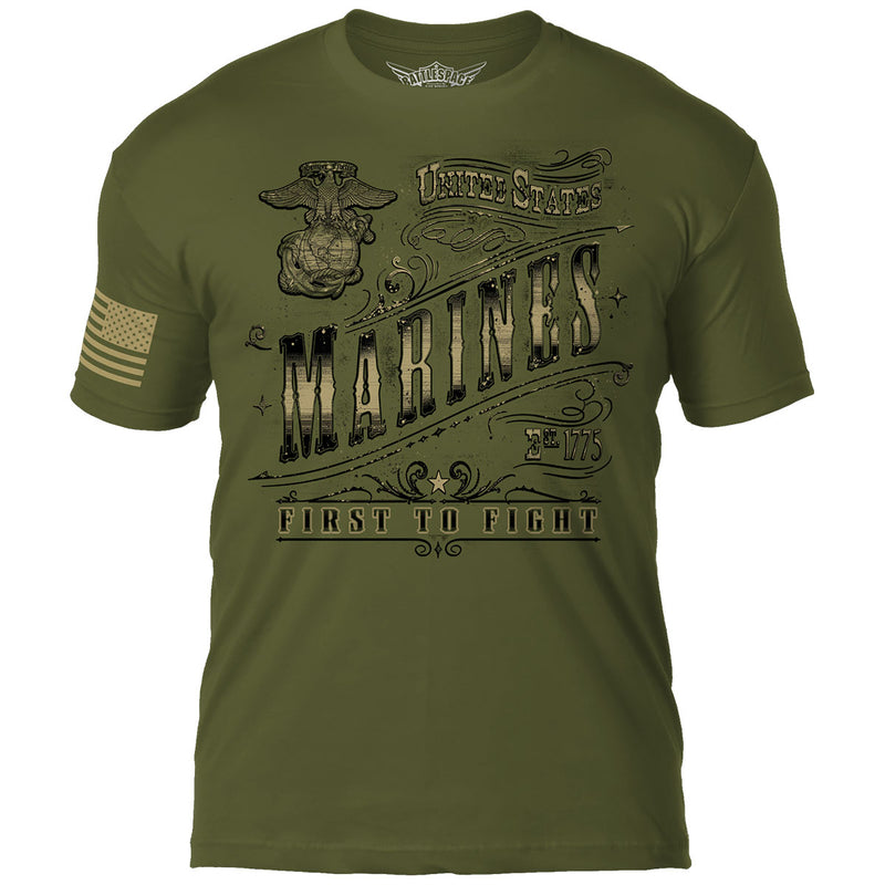 USMC ' Vintage Filigree' 7.62 Design Battlespace Men's T-Shirt- 7.62 Design