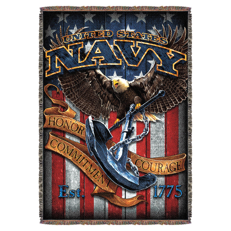 "US Navy 'Fighting Eagle' 7.62 Design 53"" x 70"" Throw Blanket- 7.62 Design"