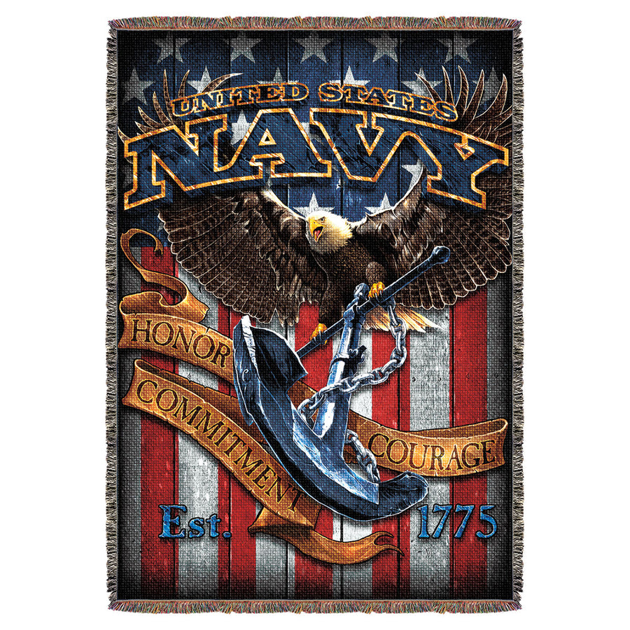 Us Navy Fighting Eagle 7 62 Design 53 X 70 Throw Blanket