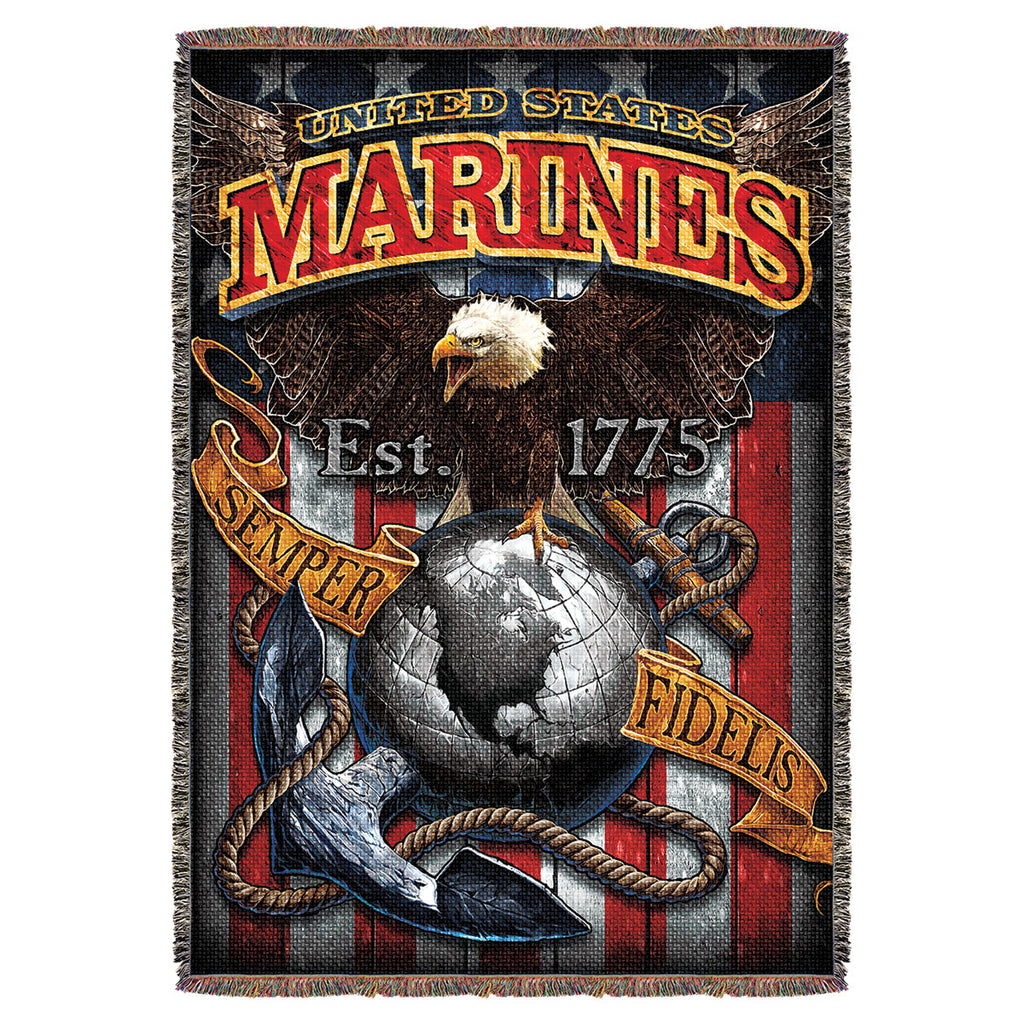 "USMC 'Fighting Eagle' 7.62 Design 53"" x 70"" Throw Blanket- 7.62 Design"