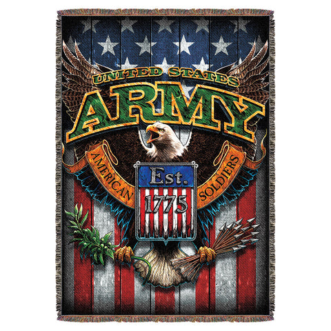 "Army 'Fighting Eagle' 7.62 Design Battlespace 53"" x 70"" Throw Blanket"