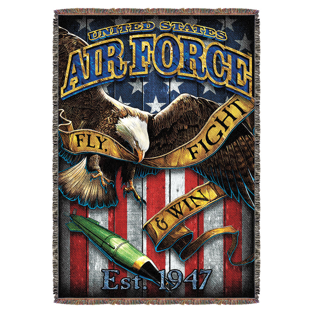 "USAF 'Fighting Eagle' 7.62 Design 53"" x 70"" Throw Blanket- 7.62 Design"