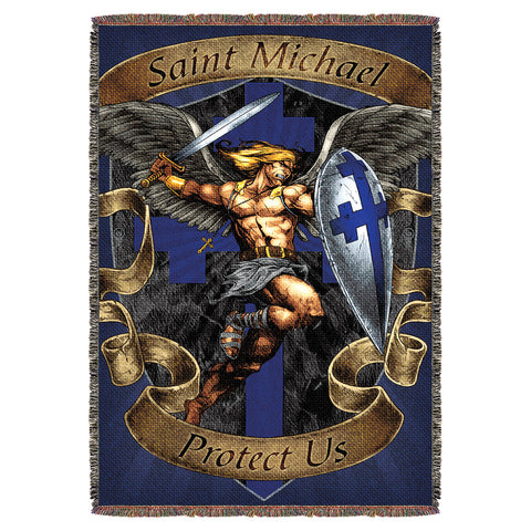 "Saint Michael 'Protect Us' 7.62 Design 53"" x 70"" Throw Blanket"