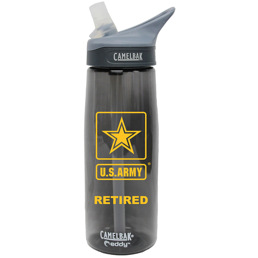 Army Retired .75 Liter Camelbak Eddy Bottle Charcoal/Gold- 7.62 Design
