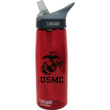 USMC Eagle Globe & Anchor .75 Liter Camelbak Eddy Bottle Chili Red/Black