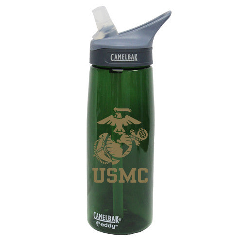 USMC Eagle Globe & Anchor .75 Liter Camelbak Eddy Bottle Pine/Gold- 7.62 Design