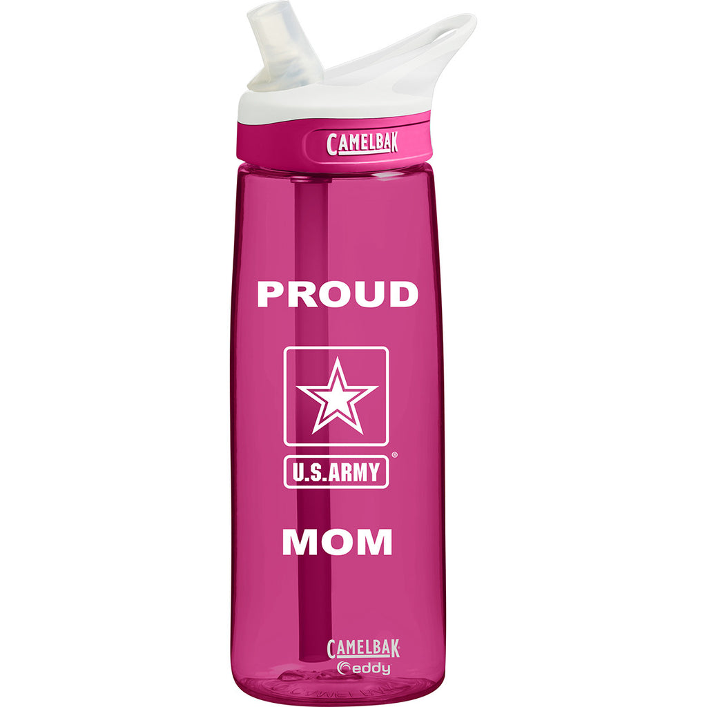 Proud Army Mom .75 Liter Camelbak Eddy Bottle Dragonfruit/White- 7.62 Design