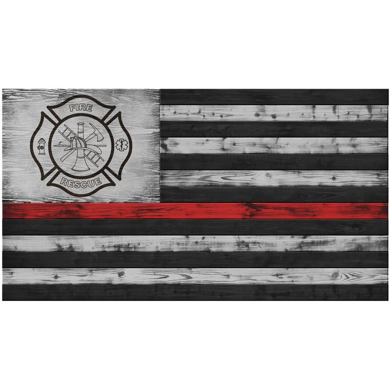 FD Red Line Wood Flag