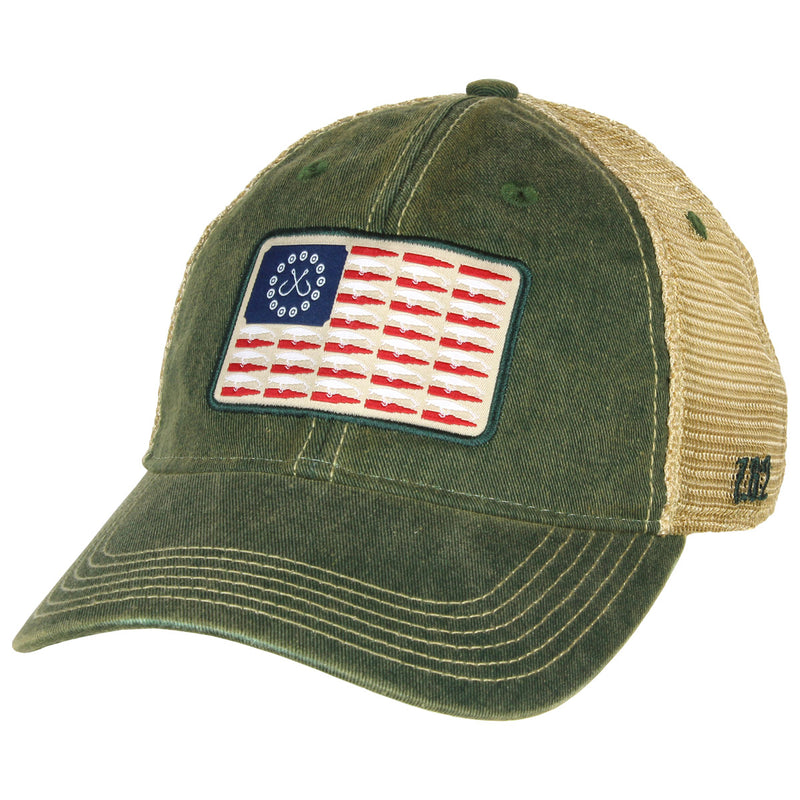 'Hook and Bullet Life' Flag Vintage Trucker Hat