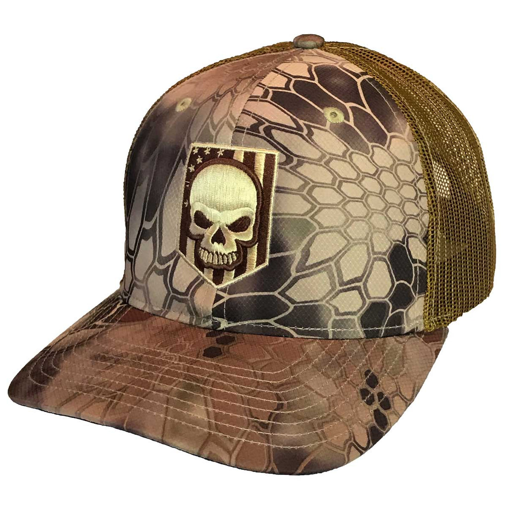 Kryptek Highland Embroidered Skull Trucker Hat- 7.62 Design