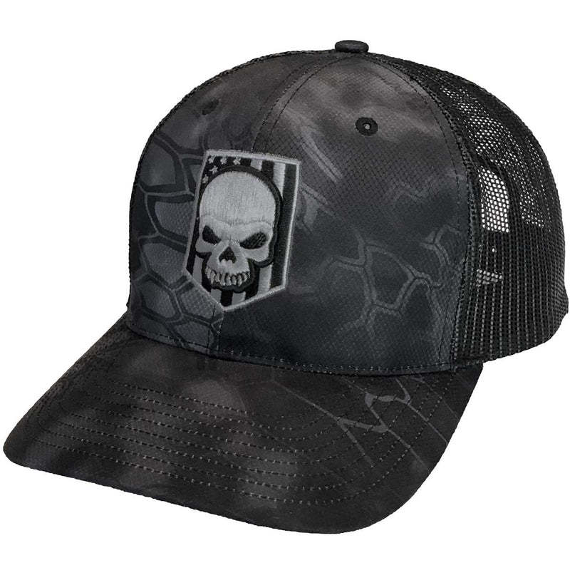 Kryptek Typhoon Embroidered Skull Trucker Hat- 7.62 Design